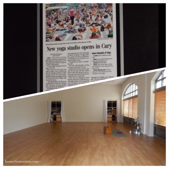 Top: Article showing Nicole teaching yoga in Time Square. Bottom: Studio interior, Republic of Yoga